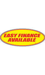 "Oval Windshield Slogan Sticker - Red/Yellow - ""Easy Financing Available"""