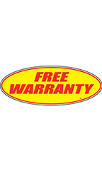 "Oval Windshield Slogan Sticker - Red/Yellow - ""Free Warranty"""