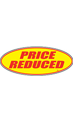 "Oval Windshield Slogan Sticker - Red/Yellow - ""Price Reduced"""