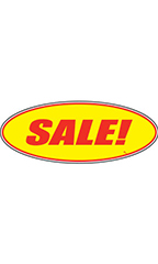 "Oval Windshield Slogan Sticker - Red/Yellow - ""Sale!"""