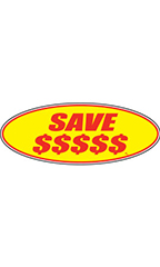 "Oval Windshield Slogan Sticker - Red/Yellow - ""Save $$$$$"""