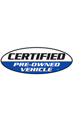 "Oval Windshield Slogan Sticker - Black/White/Blue - ""Certified Pre-Owned Vehicle"""