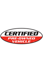 "Oval Windshield Slogan Sticker - Black/White/Red - ""Certified Pre-Owned Vehicle"""