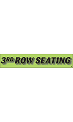 "Rectangular Slogan Windshield Sticker - Green - ""3rd Row Seating"""