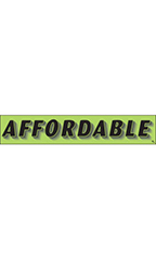 "Rectangular Slogan Windshield Sticker - Green - ""Affordable"""