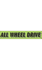"Rectangular Slogan Windshield Sticker - Green - ""All Wheel Drive"""