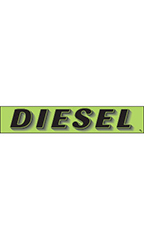 "Rectangular Slogan Windshield Sticker - Green - ""Diesel"""