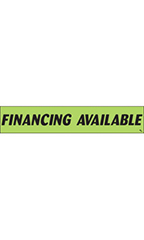 "Rectangular Slogan Windshield Sticker - Green - ""Financing Available"""