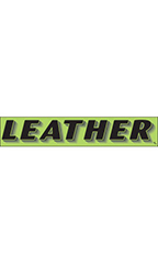 "Rectangular Slogan Windshield Sticker - Green - ""Leather"""
