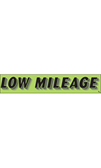 "Rectangular Slogan Windshield Sticker - Green - ""Low Mileage"""