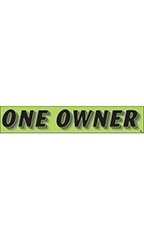 "Rectangular Slogan Windshield Sticker - Green - ""One Owner"""