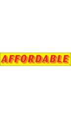 "Rectangular Slogan Windshield Sticker - Red/Yellow - ""Affordable"""