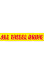 "Rectangular Slogan Windshield Sticker - Red/Yellow - ""All Wheel Drive"""
