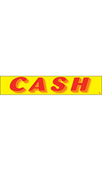"Rectangular Slogan Windshield Sticker - Red/Yellow - ""Cash"""