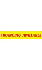"Rectangular Slogan Windshield Sticker - Red/Yellow - ""Financing Available"""