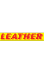 "Rectangular Slogan Windshield Sticker - Red/Yellow - ""Leather"""