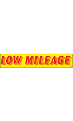 "Rectangular Slogan Windshield Sticker - Red/Yellow - ""Low Mileage"""