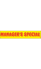 "Rectangular Slogan Windshield Sticker - Red/Yellow - ""Managers Special"""