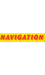 "Rectangular Slogan Windshield Sticker - Red/Yellow - ""Navigation"""