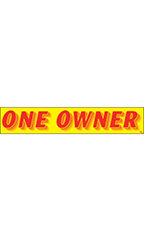 "Rectangular Slogan Windshield Sticker - Red/Yellow - ""One Owner"""