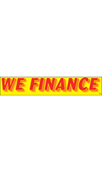 "Rectangular Slogan Windshield Sticker - Red/Yellow - ""We Finance"""