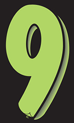 "11 ½ inch Windshield Numbers And Symbols - Neon Green/Black - ""9"""