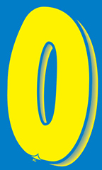 "7 ½ inch Windshield Numbers And Symbols - Blue/Yellow - ""0"""