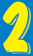 "7 ½ inch Windshield Numbers And Symbols - Blue/Yellow - ""2"""