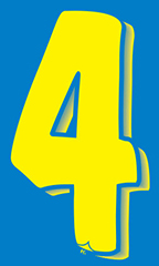 "7 ½ inch Windshield Numbers And Symbols - Blue/Yellow - ""4"""