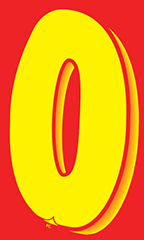 "7 ½ inch Windshield Numbers And Symbols - Red/Yellow - ""0"""