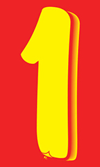 "7 ½ inch Windshield Numbers And Symbols - Red/Yellow - ""1"""