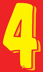 "7 ½ inch Windshield Numbers And Symbols - Red/Yellow - ""4"""