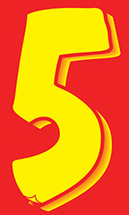 "7 ½ inch Windshield Numbers And Symbols - Red/Yellow - ""5"""