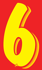 "7 ½ inch Windshield Numbers And Symbols - Red/Yellow - ""6"""