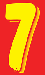 "7 ½ inch Windshield Numbers And Symbols - Red/Yellow - ""7"""
