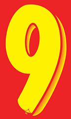 "7 ½ inch Windshield Numbers And Symbols - Red/Yellow - ""9"""