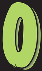 "7 ½ inch Windshield Numbers And Symbols - Neon Green/Black - ""0"""