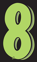 "7 ½ inch Windshield Numbers And Symbols - Neon Green/Black - ""8"""