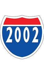 "Interstate Sign Windshield Stickers - ""2002"""