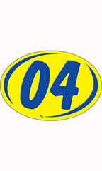 "Oval 2-Digit Year Stickers - Blue/Yellow - ""04"""