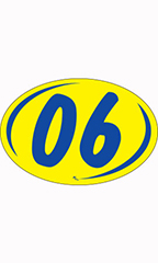 "Oval 2-Digit Year Stickers - Blue/Yellow - ""06"""