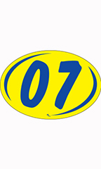 "Oval 2-Digit Year Stickers - Blue/Yellow - ""07"""