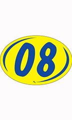 "Oval 2-Digit Year Stickers - Blue/Yellow - ""08"""