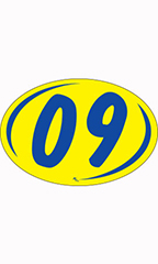 "Oval 2-Digit Year Stickers - Blue/Yellow - ""09"""