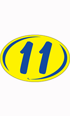 "Oval 2-Digit Year Stickers - Blue/Yellow - ""11"""