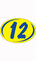 "Oval 2-Digit Year Stickers - Blue/Yellow - ""12"""