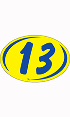"Oval 2-Digit Year Stickers - Blue/Yellow - ""13"""