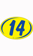 "Oval 2-Digit Year Stickers - Blue/Yellow - ""14"""
