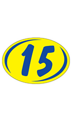 "Oval 2-Digit Year Stickers - Blue/Yellow - ""15"""