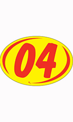 "Oval 2-Digit Year Stickers - Red/Yellow - ""04"""